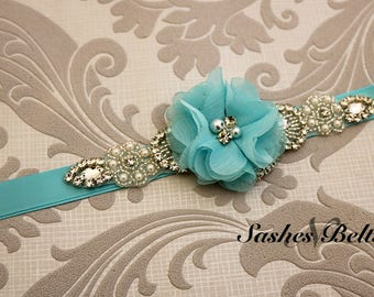 Flower Girl Belt, Aqua Flower Sash Belt, Wedding Belt, Blue Belt Sash, bridesmaid belt, wedding sash, crystal rhinestone belt, dress belt
