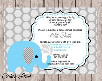 Blue Elephant Baby Shower Invitation.  Blue Elephant Invite.  Elephant Baby Shower.  Elephant Invite.  Elephant Birthday Invite.  Elephant.