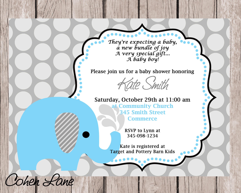 Blue Elephant Baby Shower Invitation. Blue Elephant Invite.