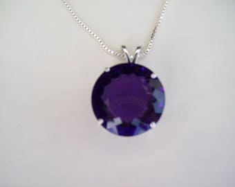 XL 17mm Round Purple/Blue Amethyst Pendant in Pure Sterling