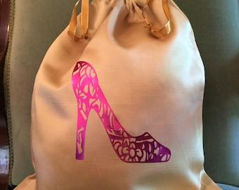 Travel Shoe Bag, Satin Shoe Bag, Bridesmaid Gift, Bridal Shower Gift, Christmas Gift