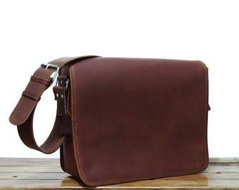 """16"""" Brown leather messenger Bag, Mens Leather briefcase, Leather bag mens, Leather laptop bag, Leather shoulder bag, Mailman Bag"""