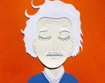 Albert Einstein sticking orange / Papercraft - papercut handmade / hand-made paper cut illustration face