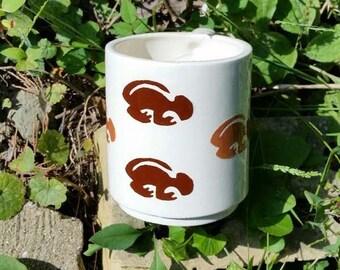 White Earthenware Ceramic Hand Made Mug with Animal Design