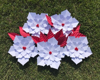 Poinsettia Christmas Paper Flowers in any color