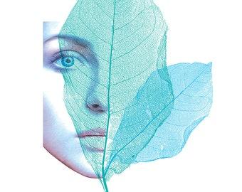 DIGITAL COLLAGE A4 montage, fashion portrait, transparent layers, green, blue leaf detail, surreal art, female face, eye 'Listless'