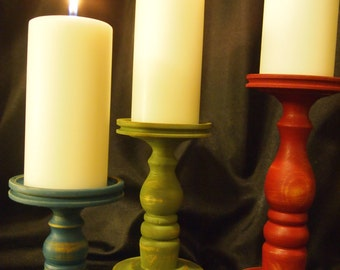 Primitive Tri-Colored Wooden Candle Holder Set of 3 - Lathe turned - Made in USA