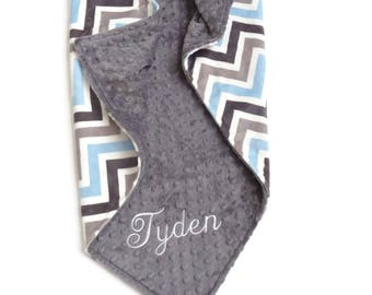 Personalized Baby Blanket or Lovey -  Baby Boy blanket or Lovey - Custom Made - You Choose Minky Color - Blue and Gray Chevron, Baby Blue