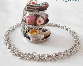 """""""Backsplash with sweets"""" necklace in Fimo, handmade"""