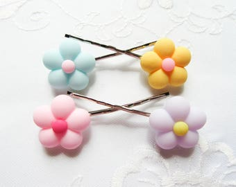 Matte Pastel Flower Hair Pins / Bobby Pins / Flowers / Summer / Cute / Hair / Kawaii / Sweet Lolita
