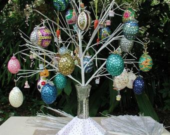 Easter Egg Ornament,  Sequins Eggs, Original Real Hand Blown Egg Ornaments, Christmas Ornament, Sequins Ornaments