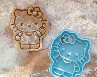 Kitty cookie cutter. Cat cookie stamp.