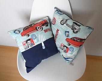 American style, vintage patterned pillow cover music from the 60's