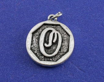 1 pcs-Initial O Charm, O Alphabet Pendant, Antiqued Silver Letter O Coin-As-K85350H-8S