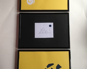 Set of 3 Handmade Framed A4 Paper Art Mountains