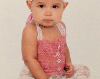 Vintage cream lace overalls set photo props 12-18 months size