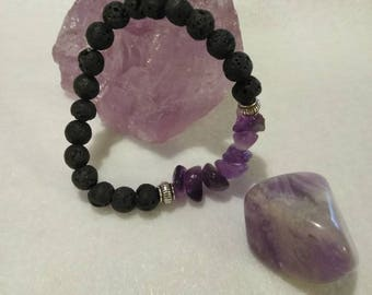 Amethyst and Lava Stone natural tumbled bracelet