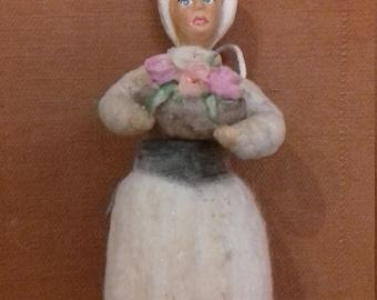 "Christmas Spun cotton ornament ""Women wich flower"""