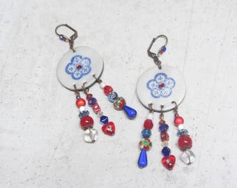 Red and blue flower with Little Valentine earrings