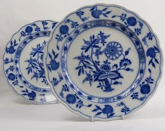 "Pair 1884 Victorian Aesthetic Movement Gildea & Walker Late Mayers ""Dresden"" Flow Blue White Antique Dinner Plate 10.5"" 27 cms diam Ex Con"