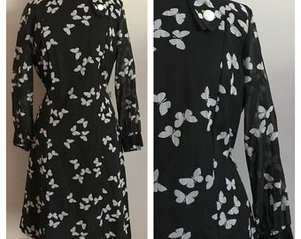 60s Black and White Graphic Butterfly Print Dress L-XL