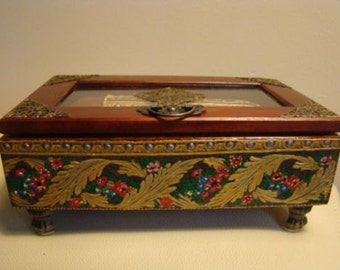 Hand decorated by me Vintage Look Wooden box with wooden glasses case and pen