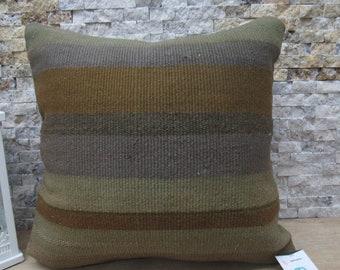 18x18 kilim pillow handmade kelim cushion striped anatolian kilim rug floor pillow kilim pillow cover ethnic pillow bohemian pillow code 589