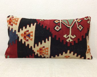 "Lumbar Kilim Pillow Cover 12""x24"" 30x60cm Handmade,Handwoven,Turkish Kilim,Vintage,Home Living,Interior"