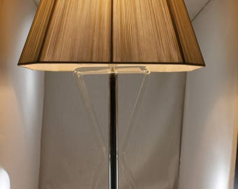 "Mid Century Modern Single ""Bent"" form Lucite Lamp w/ Silk Shade"