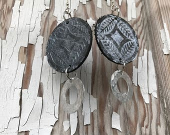 Metal and Leather Earrings-Weathered--Boho Earrings-Silver Shimmer