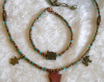 SALE Pipestone Arrowhead and Rondelles, African Trade Beads, Turquoise, Wood Necklace and Bracelet Set, Turtle and Horse, Native American