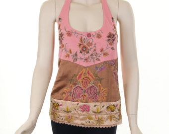 Pink and brown hand embroidered halter tank