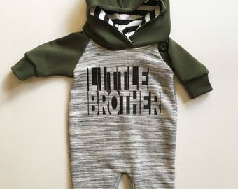 Little Brother Hooded Romper - outfit, onsie, coverall, newborn coming home outfit