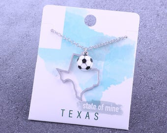 Customizable! State of Mine: Texas Soccer Enamel Necklace - Great Soccer Gift!