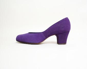 Vintage 1940s 1950s Heels - Purple Suede Pumps - Pre-Vues by Marilyn - Size 7.5