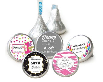 100 Personalised Birthday Hersheys Kisses