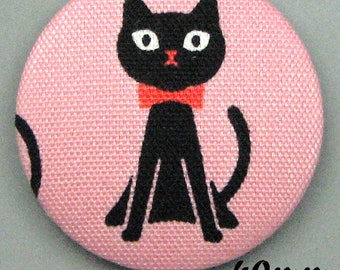 -Cat - cat sitting - (40-76) fabric covered button