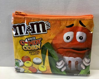 Recycled m&m Candy Wrapper Bag. Candy Bag. Halloween. Candy Corn Vinyl Purse. Wallet. Teen Gift. Fall Decor. Halloween Decor. Chocolate Bag.