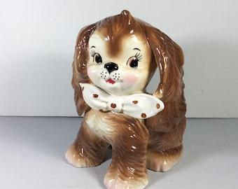 1961 Relpo ceramic puppy dog with polka dot tie planter