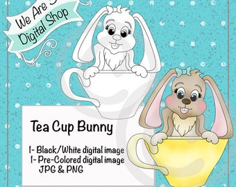 We Are 3 Digital Shop, Tea Cup Bunny, Digital Stamp, Spring, Easter