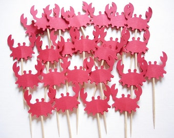 Red Crab Cupcake Toppers 12CT, Under the Sea Party Decoration, Nautical Theme Party, Baby Shower, Crab Party Picks, Crab Birthday - No418