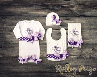 Personalize Baby Girl Layette, Monogram Newborn Clothing, Infant Layette Gown, Hospital Baby Hat, New Baby Gift Set, Baby Girl Burp Cloth