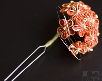 Retro Style Upcycled Orange, Cream Kanzashi Flowers Silk Hairpin OOAK, Wedding, Prom, Homecoming, Offbeat, Vintage Kimono Silk Fabric