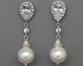 Classic Pearl Wedding Earrings Long Bridal Earrings Pearl Drop Earrings, Teardrop Rhinestone Pearl Dangle Earrings, CZ Bridal Jewelry