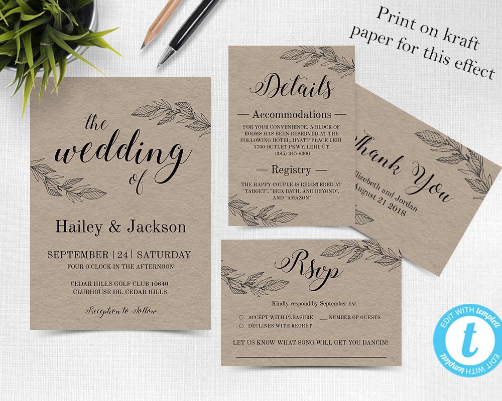 Rustic Wedding Invitation Template Wedding invitation