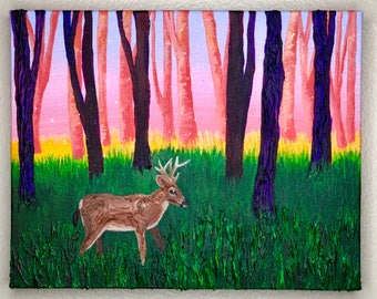 Original Key Deer Painting - Molding Paste and Acrylic Paint Mixed Media Artwork - From the Endangered Species Series