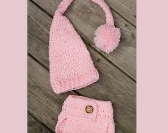 Newborn Elf Hat, Newborn Diaper Cover Set, Long Tail Hat, Stocking Cap, Newborn Pom Pom Hat, Pink Baby Hat, Newborn Photo Prop, Sleeping Cap