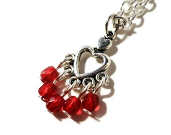 Heart Pendant Necklace, Valentine's Day Necklace, Ruby Red Glass Beaded Necklace, Bead Necklace, Women's Jewelry, Gift Idea, Gift for Wife