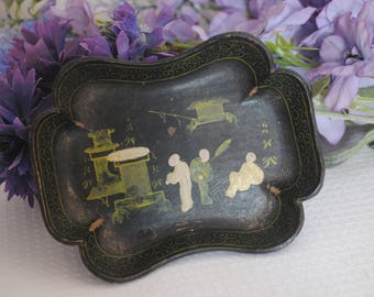 Antique Hand-painted Black Black laquered cardboard  Paper Mache Trinket Dish Oriental Chinese Asian Chinoiserie