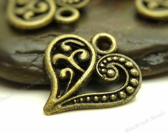 10 Heart Charms ( Double Sided ) 14x13mm Antique Bronze Tone Metal - BM1